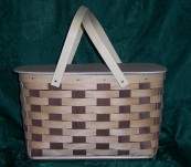 Patchwork Picnic Basket with Black Walnut